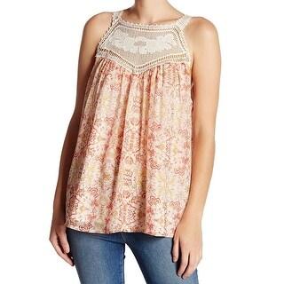 Joie NEW Orange Womens Size Medium M Floral Crocket Yoke Tank Top