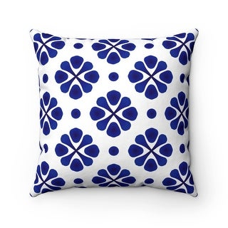 Modern Floral Patterned Reversible Throw Pillow Cover, Blue & White
