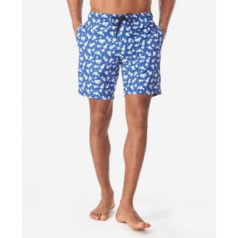Tallia Mens Blue Size Medium M Floral Print Drawstring Swim Trunks