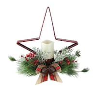 """15"""" Pine Needle, Berry and Jingle Bell Red Star Shaped Candle Holder - green"""