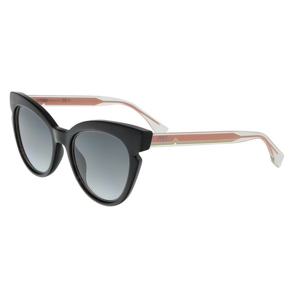 Fendi FF0132S 0N7A Lines Black Cat Eye Sunglasses