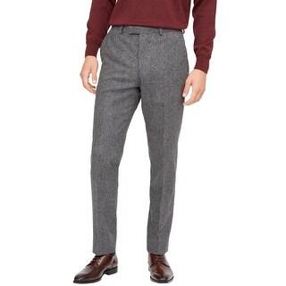 Hardy Amies Savile Row Mens Brinsley Classic Fit Flannel Pants 40 Grey Melange