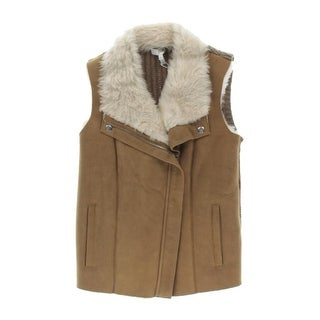 Joie Womens Lamb Fur Asymmetric Zip Casual Vest - XXS