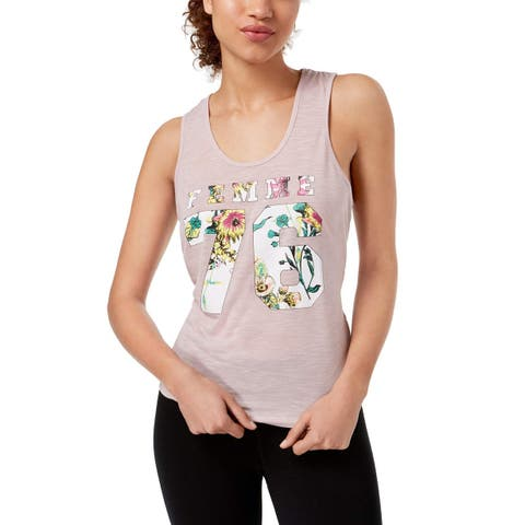 Material Girl Pink Womens Size XS Retro Graphic Bleached Tank Top