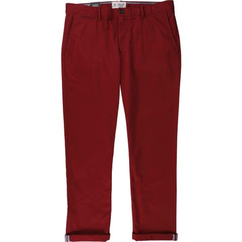 Penguin Mens Solid Casual Chino Pants, red, 36W x 32L - 36W x 32L