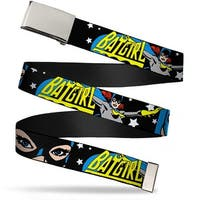 "Blank Chrome 1.0"" Buckle Batgirl W Face Close Up & Stars Black White Web Belt 1.0"" Wide - S"
