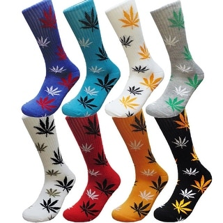 Mens Marijuana Print Funny Colorful Novelty Crew Socks 3 Pair Bundle 10 - 13