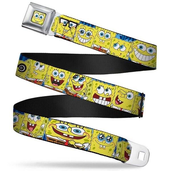 Sponge Bob Face Close Up Sponge Bob Expressions Stripe Blue Webbing Seatbelt Belt