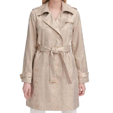 Calvin Klein Women's Coat Gold Size Medium M Trench Shimmer Snakeskin
