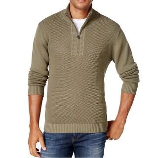 Weatherproof NEW Olive Green Mens Size 3XL 1/2 Zip Mock-Neck Sweater