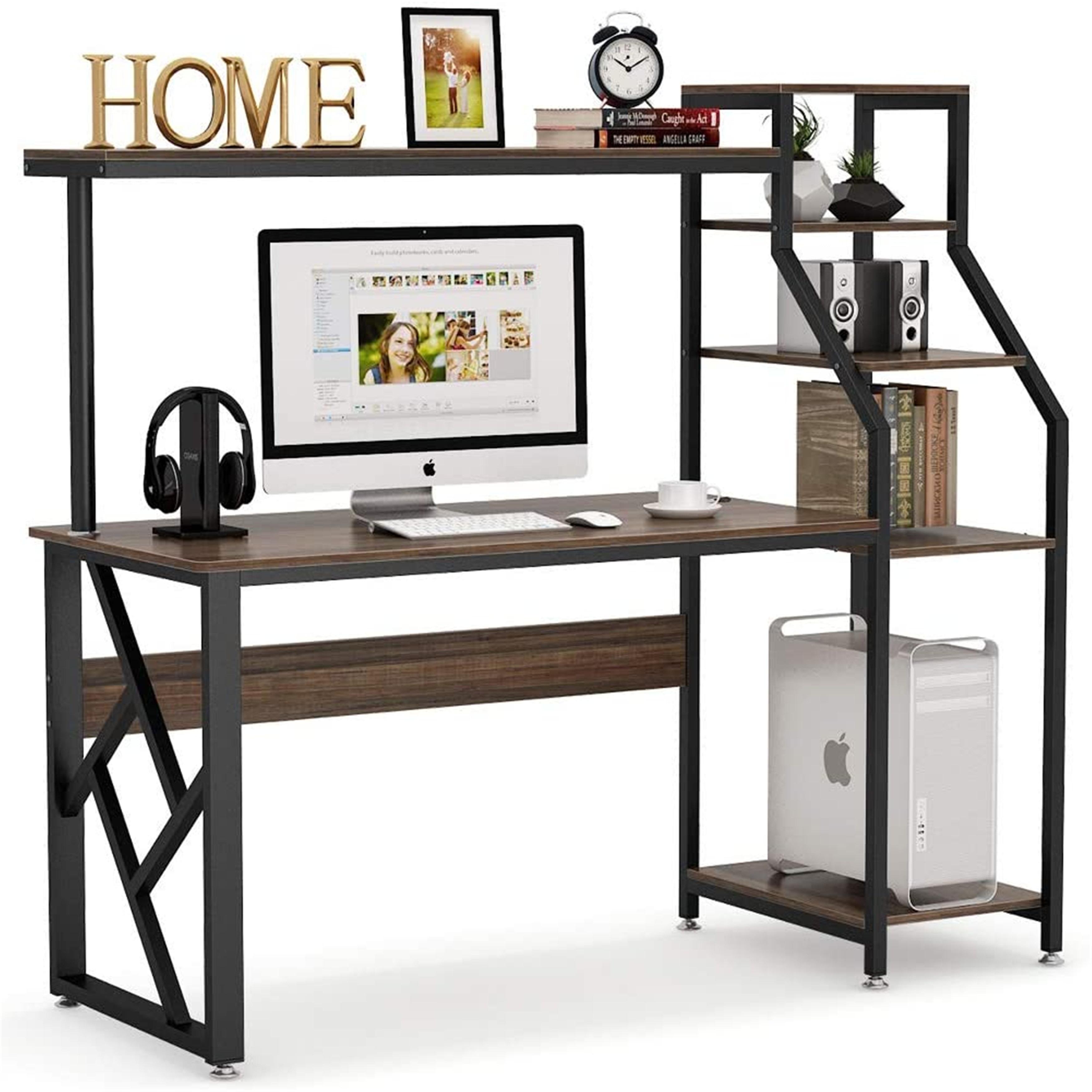 Computer Desk With 4 Tier Storage Shelves Workstation Desk On Sale Overstock 30531678 Brown