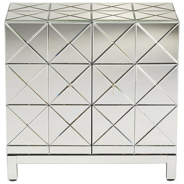 """Cyan Design Adonis Cabinet Adonis 34.25"""" Tall Wood and Mirrored Glass Cabinet - Clear"""