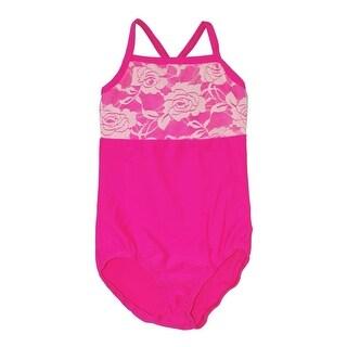 Girls Raspberry Rose Lace Detail Camisole Dancewear Leotard