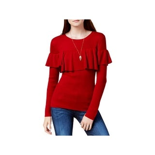 Kensie Womens Pullover Sweater Ribbed Flounce