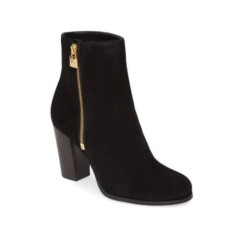 Michael Kors Women's Suede Leather Frenchie Ankle Booties Black