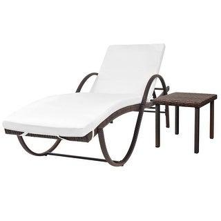 "vidaXL Sun Lounger with Cushion & Table Poly Rattan Brown - 76"" x 25.6"" x 22"""