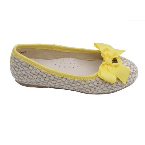 L'Amour Toddler Girls Yellow Faux Straw Bow Fashion Flats 7-10 Toddler