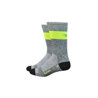DeFeet Aireator SL 7in Sock Grey Heather/Hi Vis Yellow Stripe, M - Men's