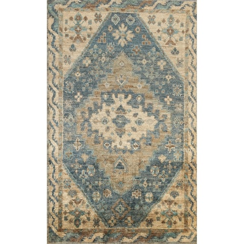 """Geometric Oriental Oushak Outdoor Area Rug Hand-knotted Office Carpet - 5'11"""" x 8'11"""""""