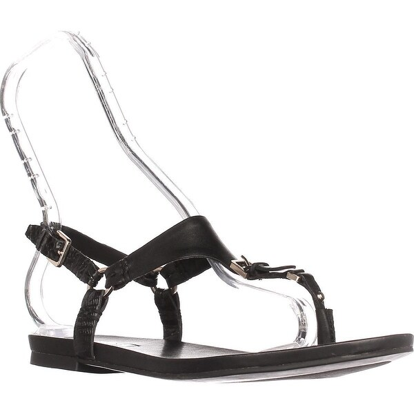 Aldo Joni Flat Thong Sandals, Black Leather