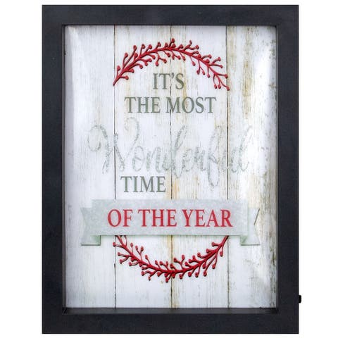"""9"""" Black Framed """"Its The Most Wonderful Time Of The Year"""" LED Christmas Wall Art"""