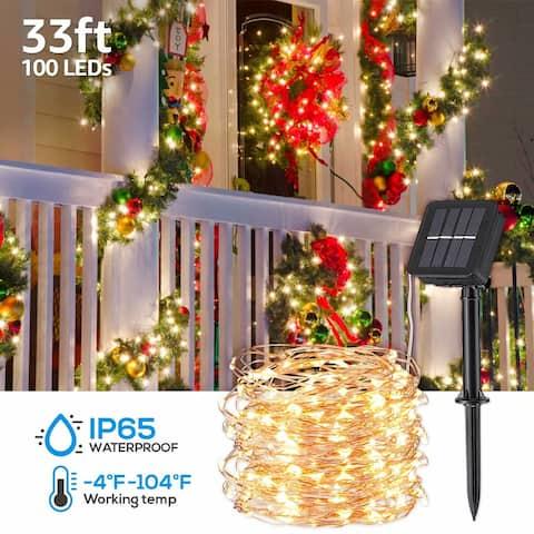 Christmas 33ft IP65 Waterproof 100 LED Solar String Lights, 8 Modes, Warm White - 39ft