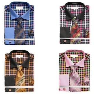 Men's Multi-Colored Crayon Plaid Shirt with Tie Handkerchief Cufflinks Set