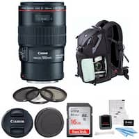 Canon EF 100mm f/2.8L IS USM Macro Lens with Advanced Photo and Travel Bundle