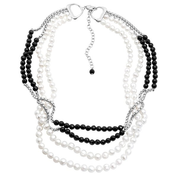 Honora 4-Strand Freshwater Pearl & Onyx Bead Necklace in Sterling Silver