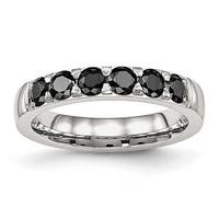 Stainless Steel Polished Black CZ 4 mm Band Ring