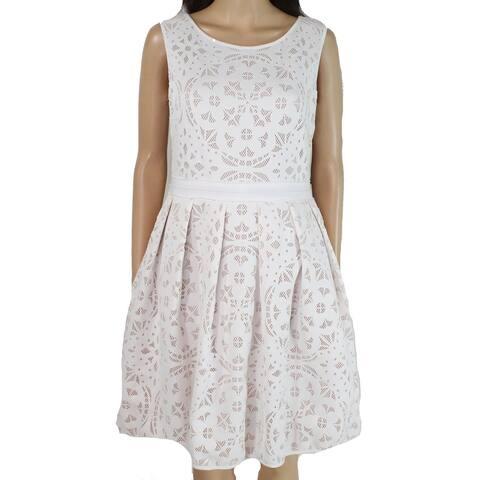 Xscape Womens Dress A-Line Lasercut Fit & Flare Pleated