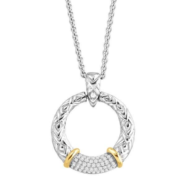 1/5 ct Diamond Open Circle Pendant in Sterling Silver & 14K Gold