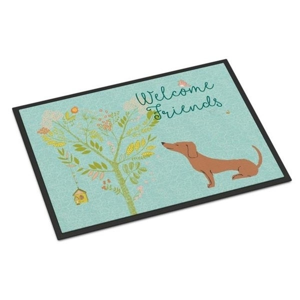 Carolines Treasures BB7631MAT Welcome Friends Red Dachshund Indoor or Outdoor Mat 18 x 27 in.