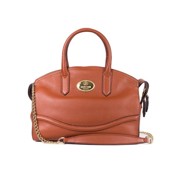76a9d81e9654 Shop Roberto Cavalli Tan Brown Grained Leather Large Boston Tote Bag - Free  Shipping Today - Overstock - 21326623
