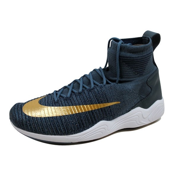 cddcee35661d Shop Nike Men s Zoom Mercurial XI Flyknit FC Blue Fox Metallic Gold ...