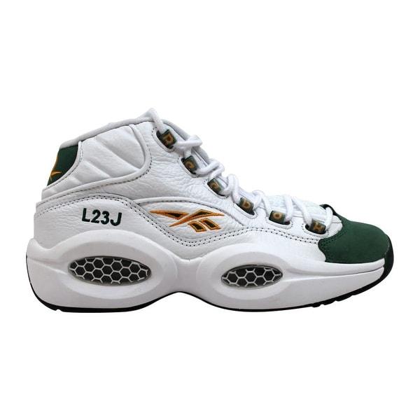 new styles 64b4a 0de01 Reebok Men  x27 s Question Mid White Sap Green-Harvest Green Lebron