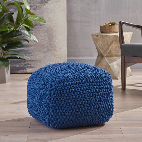 Pim Knitted Cotton Pouf by Christopher Knight Home
