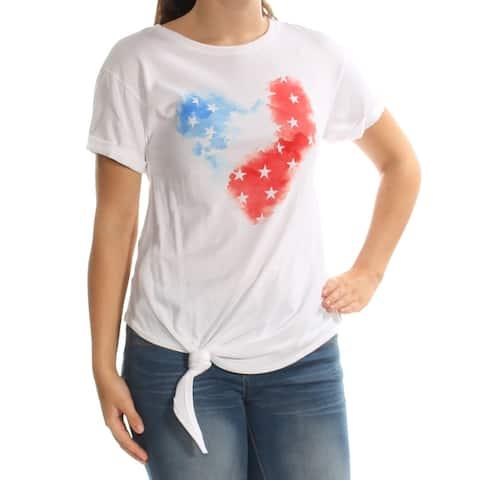 AMERICAN RAG Womens White Tie Heart Short Sleeve Crew Neck Top Size: S