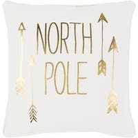 "18"" Snow White and Rich Gold Decorative ""NORTH POLE"" Holiday Throw Pillow"