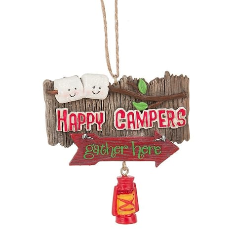 Happy Campers Gather Here Christmas Holiday Ornament Resin