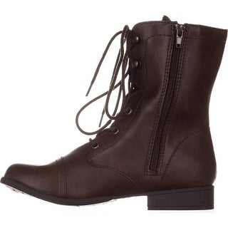 American Rag Womens Fionn Combat boots Almond Toe Mid-Calf Combat Boots - Brown