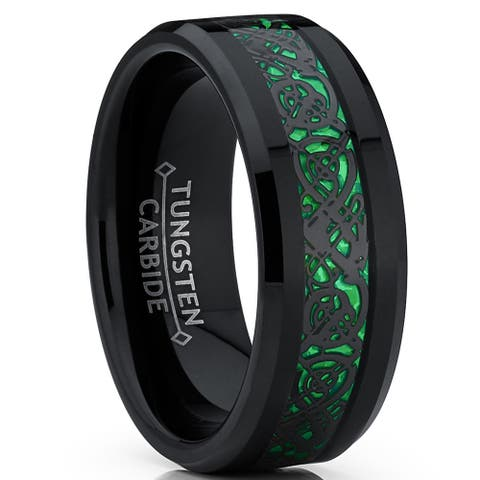 Oliveti Men's Black Tungsten Carbide Dragon Ring Wedding Band Green Carbon Fiber Comfort Fit 8mm