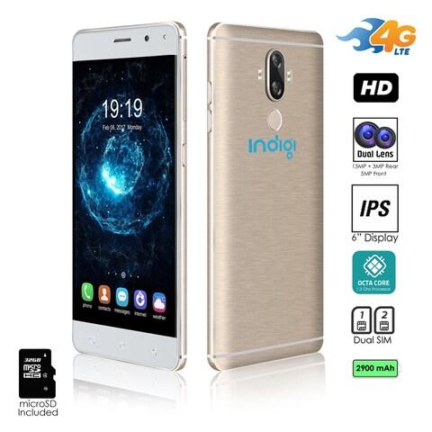 "Indigi GSM Unlocked 4G LTE 6"" Android 7 Smartphone (Octa-Core @ 1.3ghz + 2SIM + Fingerprint) (Gold) +32gb microSD"