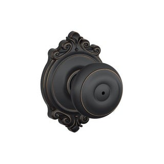 Schlage F40-GEO-BRK Georgian Privacy Door Knobset with the Decorative Brookshire Rose - N/A