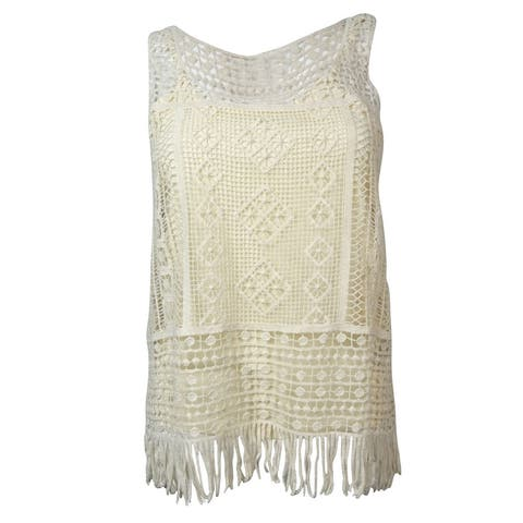 Ralph Lauren Women's Scoop Neck Fringe Crochet Tank Top - Natural