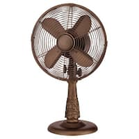 DecoBreeze DBF7296 Sherwood 10 Inch Blade Span 20 Inch Tall 3 Speed Table Fan - Brown