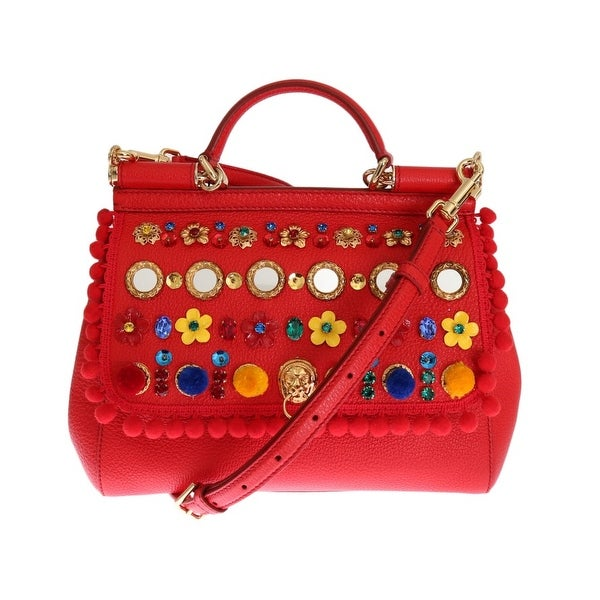 Dolce  amp  Gabbana Dolce  amp  Gabbana Red Leather Crystal SICILY Bag ... a7f547fbc8