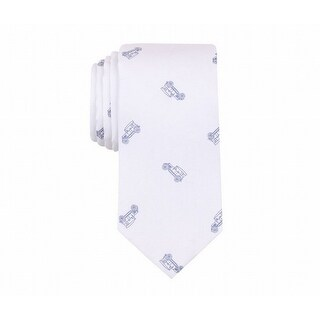 Bar III NEW White Blue Mens One Size Antique Car Skinny Neck Tie