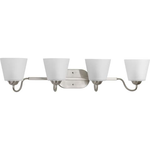 Arden Collection 4-Light Brushed Nickel Etched Glass Farmhouse Bath Vanity Light
