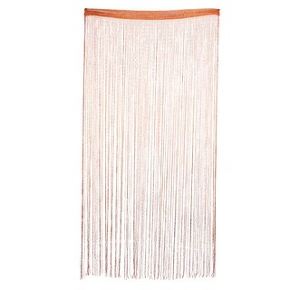 Door Window Sparkling Ribbon Flat Tassel Screen String Curtain Coffee Color - MultiColor